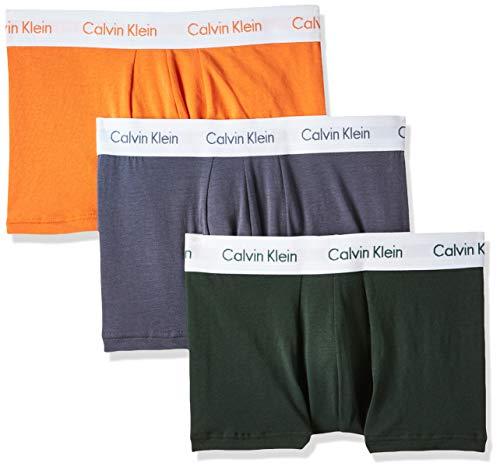 Calvin Klein Herren Low Rise Trunk 3pk Boxershorts, Mehrfarbig (Jungle Leaf/SOOT/ORANGE W. WHT WB LFW), L