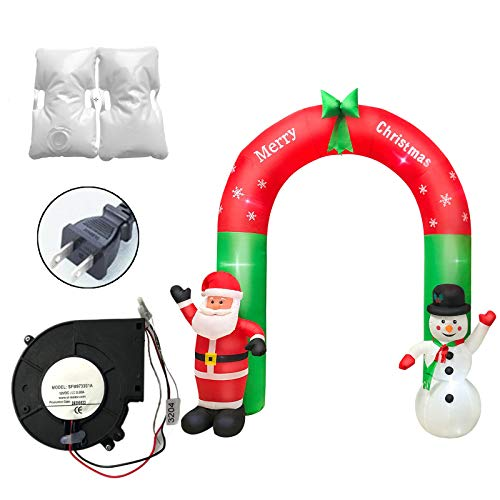 Juguetes inflables Brillantes navideños, ANJICAT, luz LED Inflable navideña, decoración de Arco de muñeco de Nieve de Papá Noel, Juguete Inflable al Aire Libre