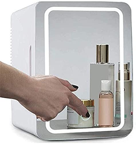 Mini refrigerador de belleza / refrigerador cosmético portátil, panel de vidrio + iluminación LED, con ajuste de frío y calor, utilizado para maquillaje y cuidado de la piel, también se pueden usar en
