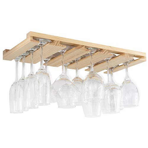 Rustic State Eze Stemware Glass Rack Under Cabinet Easy to Install Hanging Bar Glass Rack 21.6 Inch by 10 Inch Natural