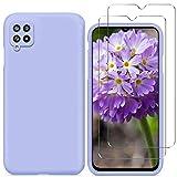 N+A YiKaDa - Funda Compatible con Samsung Galaxy A42 5G + [2 Unidades] Cristal Templado Protector de Pantalla, Cáscara Suave de Silicona TPU Líquida - Púrpura
