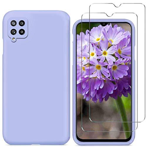 """YiKaDa - Cover Compatibile con Samsung Galaxy A22 4G 6.4"""" (Non 5G) + [2 Pack] Pellicola Protettiva in Vetro Temperato, Custodia Liquid Silicone Leggero - Viola"""
