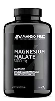 Magnesium Malate 3000 per dose – 180 Vegan Tablets from Amando Perez ® Quality Sports Nutrition