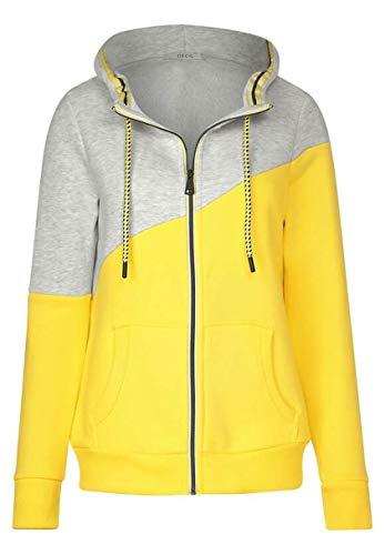 Cecil Damen Sweatjacke mit Colourblock Fresh Yellow M