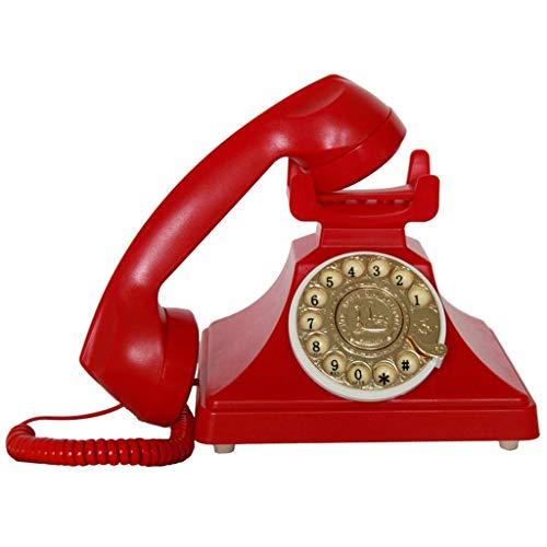 NSHDR Teléfono de marcación rotativa Retro teléfonos fijos Antiguos con Campana de Metal clásica, teléfono con Cable con Altavoz y función de rellamada for el hogar y la decoración (Negro clásico)