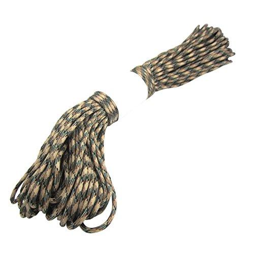 Cuerda del paracaidas - TOOGOO(R) Paracord Cuerda del paracaidas, con 7 hilos, 550 lbs, 100 ft - Camuflaje verde oscuro
