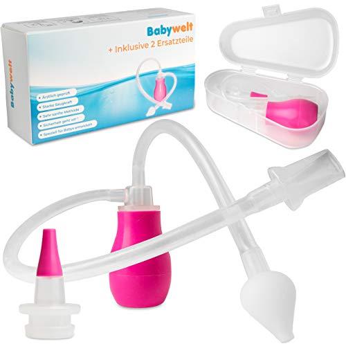 Nasensauger Baby [2in1] - Nasenreiniger aus medizinischem Silikon - Einfache Handhabung & Reinigung - Popelsauger Baby und Kleinkind - Immer wiederverwendbar da ohne Filter - Babynasen Sauger