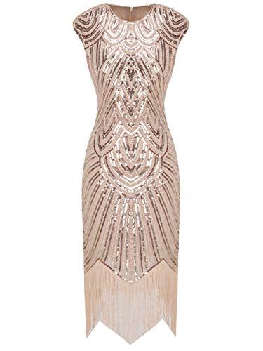 Fairy Couple 1920er-Flapper-Kleid mit Paillettenverzierung und Quastensaum FD20S002 Gr. Medium, Ein Rotgold