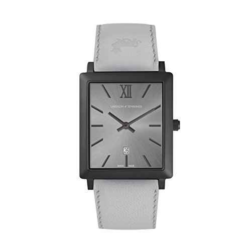 Larsson & Jennings Unisex Datum klassisch Quarz Uhr mit Leder Armband NRS40-LBLK-CS-Q-M-BGRY-O