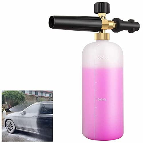 Rhino Gadget Snow Foam Bottle Adjustable Soap Lance Cannon Nozzle for Karcher k Series K2 K3 K4 K5 K6 K7 Pressure Washer - 1 liter