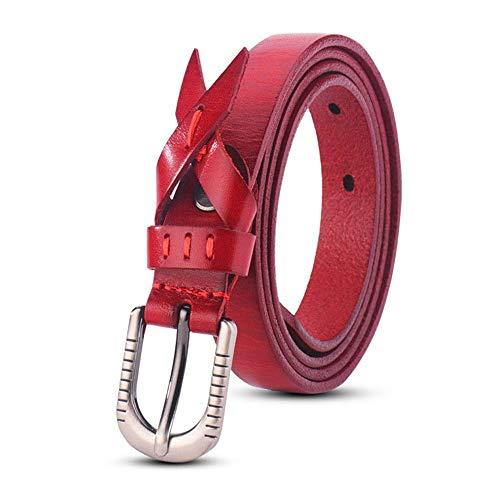 YEZIB Cablaggio da Uomo, Cintura da Donna Retro Belt Head Layer Pelle Bovina all-Match Cintura con Fibbia ad Aghi (Color : Orange, Size : 105cm)