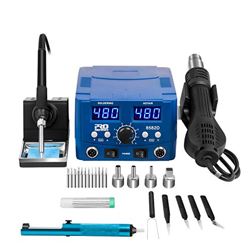 Digital Soldering Station, PROSTORMER 2 in 1 Rework Station Heat Gun Hot Air Soldering Iron Station, LED Display, Digital Templeture Correction and Sleep Function, AC Power Supply