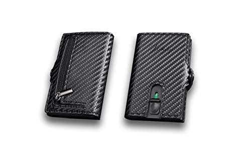 Mikalzo® Kreditkartenetui mit Geldklammer und Münzfach, Geldbörse, Portemonnaie, Kartenetui RFID Schutz, Slim Wallet, Unisex (Carbon)