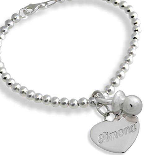 Armband met hanger fopspeen en hart met individuele naam van zilver 925/1000. Cadeau voor moeders in zoete goederen. Bloemen sieraden. Gewicht: 14.00 g.