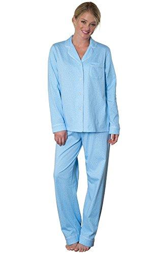 PajamaGram Womens Petite Pajamas Set Pajamas for Women Petite Sizes Blue L 12-14