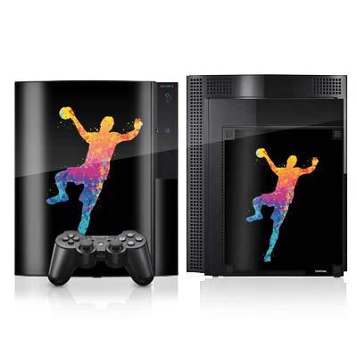 DeinDesign Skin kompatibel mit Sony Playstation 3 Folie Sticker Handball Farbklecks Ball