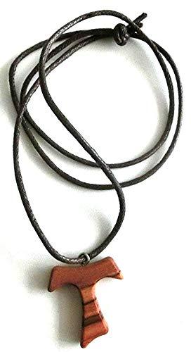10.446.90 LAC Halskette Kreuz Tau 3 cm, Franziskus von Assisi, aus Olivenholz, Frieden Kommunion