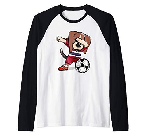 Funny Dabbing Beagle Tailandia Fútbol - Bandera tailandesa Camiseta Manga Raglan