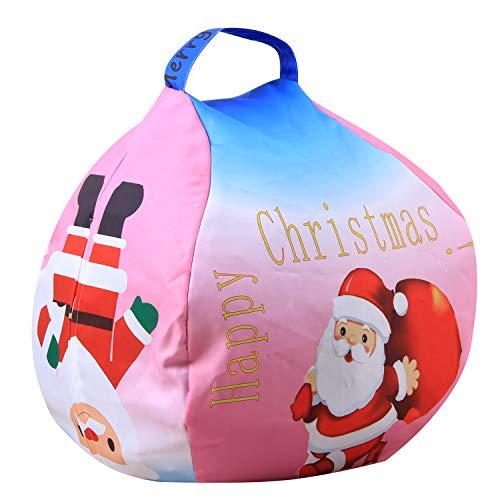 FANG Canvas clothing storage bean bag, plush toy storage bag, multi-function organizer bag (Santa Claus),26inch