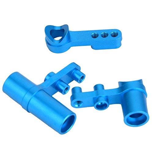 Dilwe 3 Stück Lenkservo, Aluminium Upgrade Teile für HSP 1:10 RC Modell Auto(Blau)