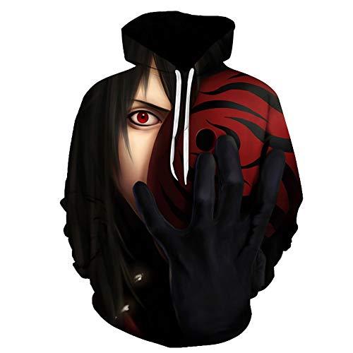 3D Naruto Sudaderas con Capucha con Bolsillo Canguro Adolescente Sudadera Divertida Suéter Estampado Primavera Y Otoño 2021 Digital Hoodie,Negro,XL