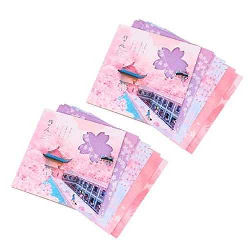 TOYANDONA 2 Piezas de Papel de Origami Flores de Cerezo de Doble Cara Impresas Artesanías a Mano Papel Cuadrado Plegable Artes Creatividad para Niños Adultos