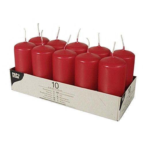 Papstar Blockljus, 6 x 11,5 cm, Röd, Paket med 10