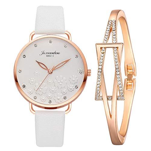 CHMORA Reloj de mujer – Reloj de pulsera para mujer, con esfera tridimensional de flores, elegante pulsera – Regalos para mujer (blanco/1 juego de reloj)