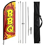 FSFLAG BBQ Swooper Flutter Feather Flag with Flagpole Kit and Ground Stake, 11 Foot Advertising Swooper Business Sign Flag Pole Kit for BBQ