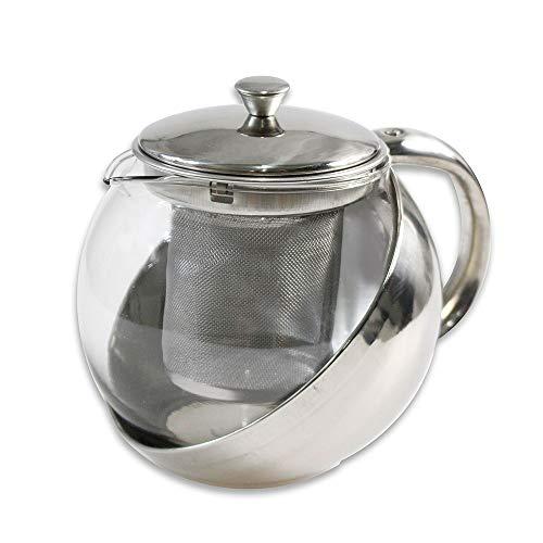 Vetrineinrete® Teiera con Filtro infusore per Tisane e The con Coperchio 750 ml in Vetro e Acciaio Utensili da Cucina D77
