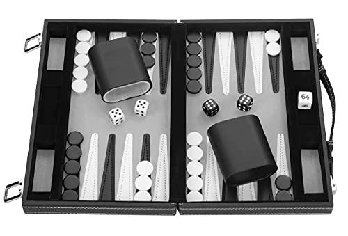 Engelhart- Maletín de Juego de Backgammon 11' 30 cm - Cuero de imitación Cosido (Negro/Blanco/Gris)