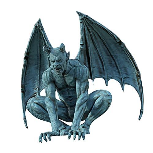Estatua de dragón de resina de imitación de piedra de resina para jardín, decoración de jardín y dragón, decoración de jardín al aire libre para amantes del dragón, fans de fantasía