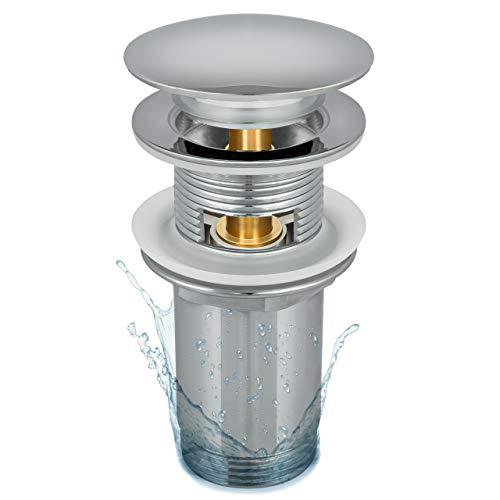 Siphonly Universal Ablaufgarnitur für Waschbecken | Abflussgarnitur – mit Überlauf für Waschtische | Modernes Pop-Up Click Clack | Waschbeckenstöpsel | Ablaufstopfen mit großer Abdeckung aus Messing
