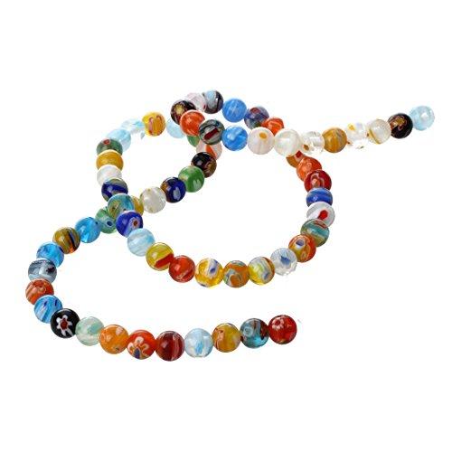 SODIAL(R) Hilo Cuenta Abalorio Cristal de Murano multicolor 6mm
