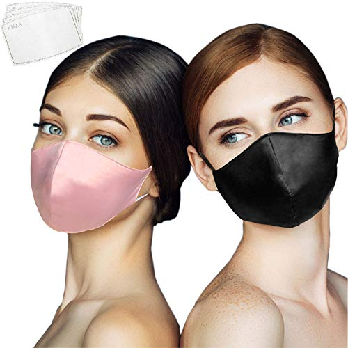 Eaureum 2Pcs 100% Silk Face for Women with 4 Filters,Fashion Luxury Mulberry Silk Face Washable and Reusable,Adjustable Earband Handmade Bandanas
