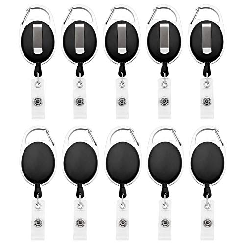 Fushing 10 Karabiner ID Card Badge Clips mit Gürtel Clip Spulen mit Badge Holder Clips Halter Clips schwarz