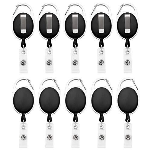 Lot de 10 bobines rétractables à clips Ujoy - Pour badges, cartes d'identités Noir