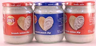 Lays 3 ct Assorted Dip - french onion dip (2) and smooth ranch dip (1) - 3 / 15 oz jars