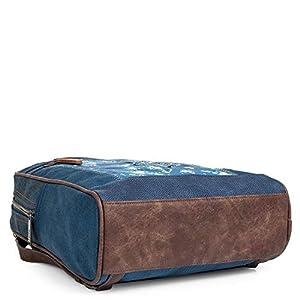 41JYd67reUL. SS300  - Lois - Mochila de Mujer de Diseño Casual. Utilizable como Bolso Bandolera. Lona Denim Estampada y Cuero PU Bordado. Calidad Diseño y Marca. Cómoda Resistente y Ligera 304392, Color Azul