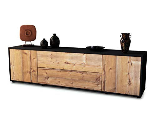 Stil.Zeit TV Schrank Lowboard Tina, Korpus in anthrazit matt/Front im Holz-Design Pinie (180x49x35cm), mit Push-to-Open Technik und hochwertigen Leichtlaufschienen, Made in Germany