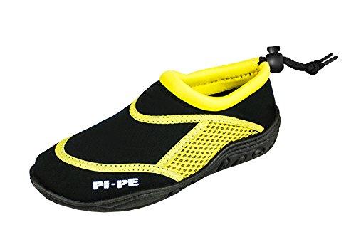 PI-PE Escarpines de baño para hombre y mujer – Ideal como zapatos de natación o zapatos de playa – Zapatos de agua premium con práctica bolsa de malla, color Negro, talla 36 EU