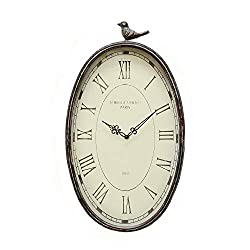 Stratton Home Decor SHD0009 Antique Oval Clock, 10.75 W X 2.25 D X 19.25 H, Gunmetal