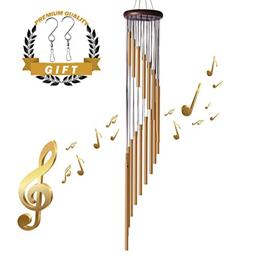 "35"" Large Wind Chimes - Amazing Grace Wind Chimes with 18 Roots Aluminum Alloy Tubes and Wood Design, Inspirational Collection for Outdoor Patio Backyard Home Decor (Golden Bronze)"