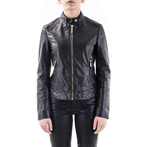 Trussardi Jeans Jacket Biker Soft Touch Leathe Giacchetta di Pelle, Black, 40 Donna