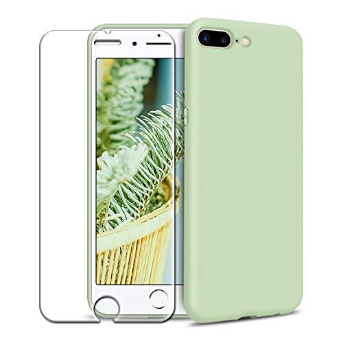 Funda iPhone 7 Plus/iPhone 8 Plus + Protector de Pantalla de Vidrio Templado, Carcasa Ultra Fino Suave Flexible Silicona Colores del Caramelo Protectora Caso Anti-rasguños Back Case - Menta Verde