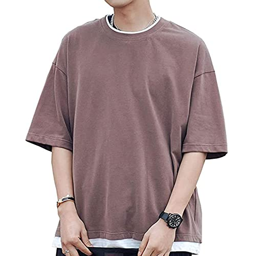PLOK Camiseta para hombre de estilo moderno sencillo falsificado, dos piezas, verano, casual, talla grande, cuello redondo, manga corta marrón L