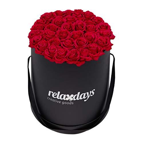 Relaxdays Rosenbox rund, 34 Rosen, stabile Flowerbox schwarz, lange haltbar, Geschenkidee, dekorative Blumenbox, rot
