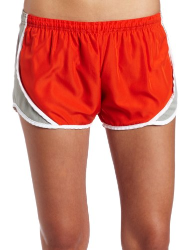Soffe Women's Juniors' Team Shorty Shorts, Orange/Silver, Medium