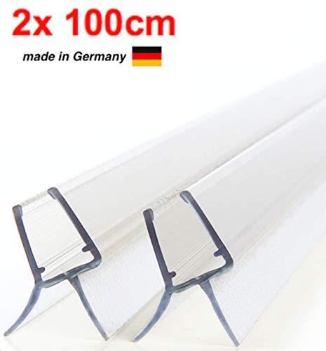 Premium Duschdichtung - Wasserabweisende Dichtung für Duschkabinen - Für 6mm und 7mm Glasdicke geeignet (2 x 100cm)