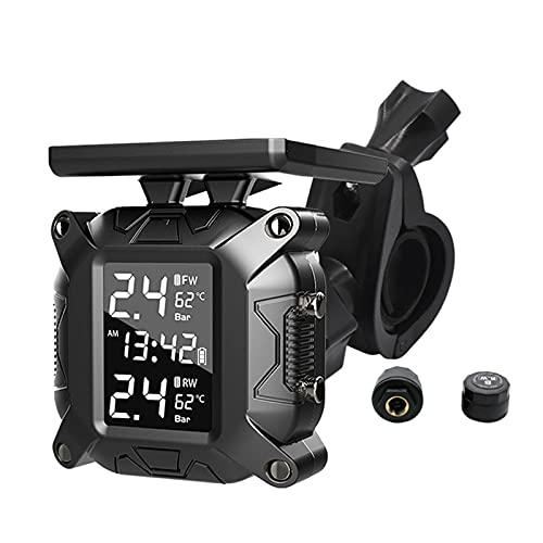 N / B Sistema de monitoreo de presión de neumáticos inalámbrico para Motocicleta, 5 Modos de Alarma, Carga Solar inalámbrica, Impermeable, con 2 sensores TPMS externos